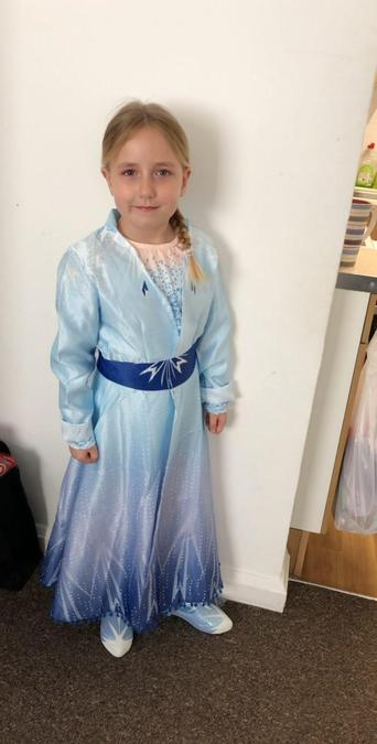 Sophie's Elsa costume, a birthday present.