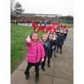 Pupils in Year 1 enjoying the 'Reindeer Walk'...