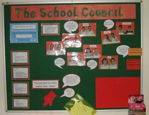The school Council's display board in school.