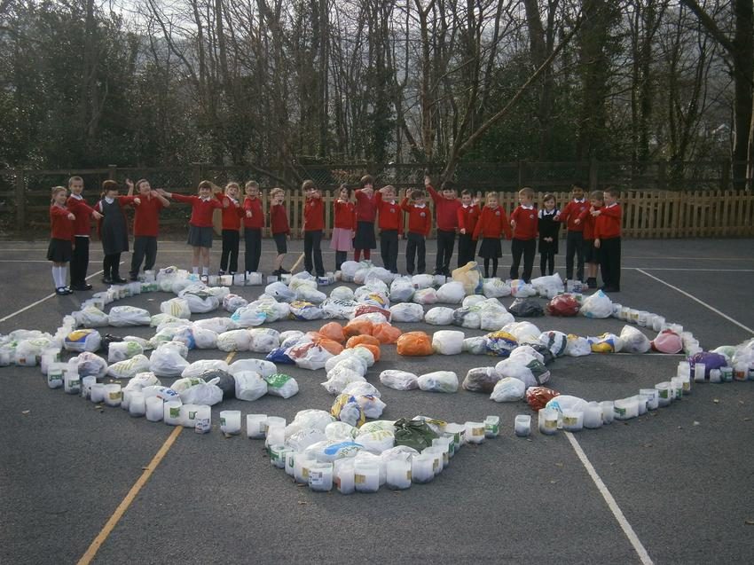 Our plastic bag amnesty.  We made a giant turtle