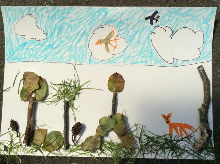Abbie has used natural items for her collage.