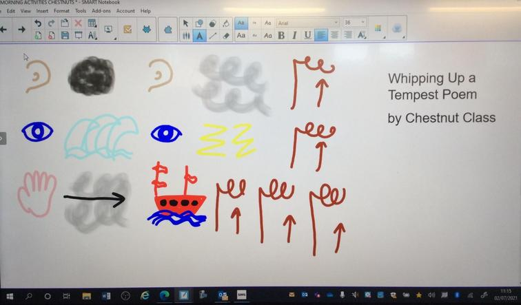 We drew pictures to remind us of the order if our poem.