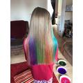 Lily's lovely rainbow hair