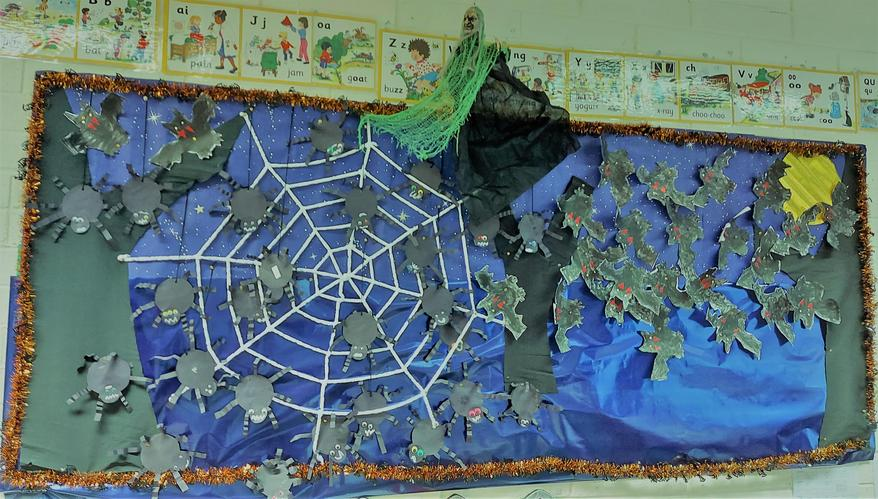 We made some spiders and bats for our Halloween display this year