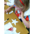 Making our stars for the door competition.