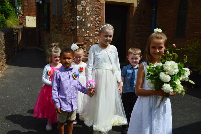 Her attendants were very excited!