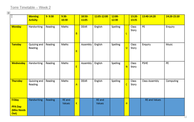 Torre Class Timetable Week 2