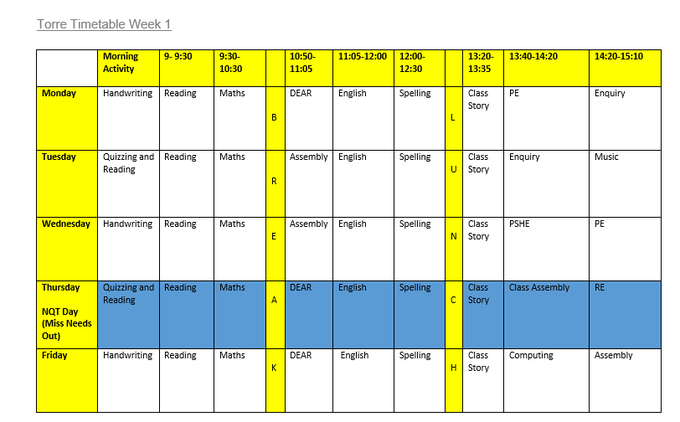 Torre Class Timetable Week 1