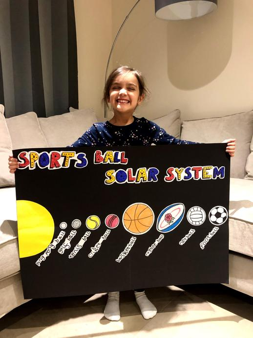 How amazing is this? Annie has used different sports balls to create a universe. WELL DONE