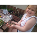 Do you think Lily Rose is enjoying the snails?