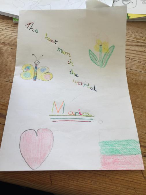 He also made a card for his mum...
