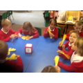 We used a giant dice and number fans in maths.