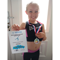 Rosie completed a virtual gymnastics competition!
