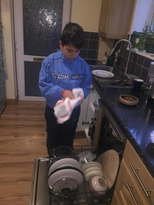 Dimitar helped with the dish washing.