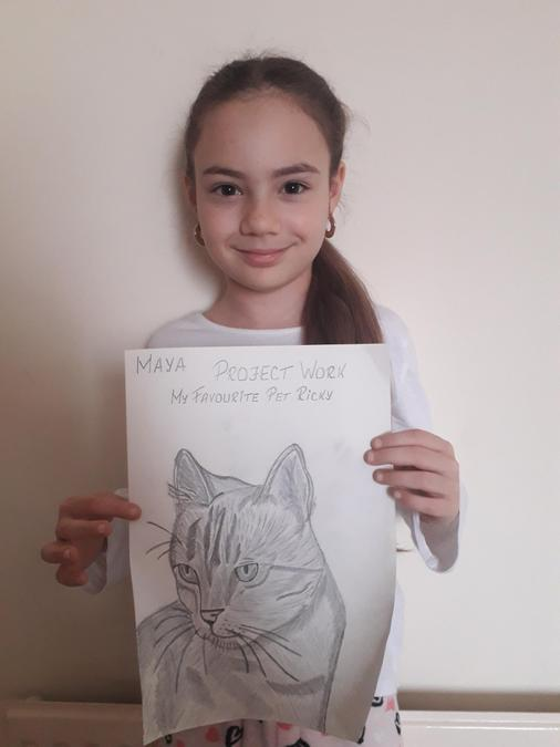 Super shading on Maya's sketch of her cat, Ricky.