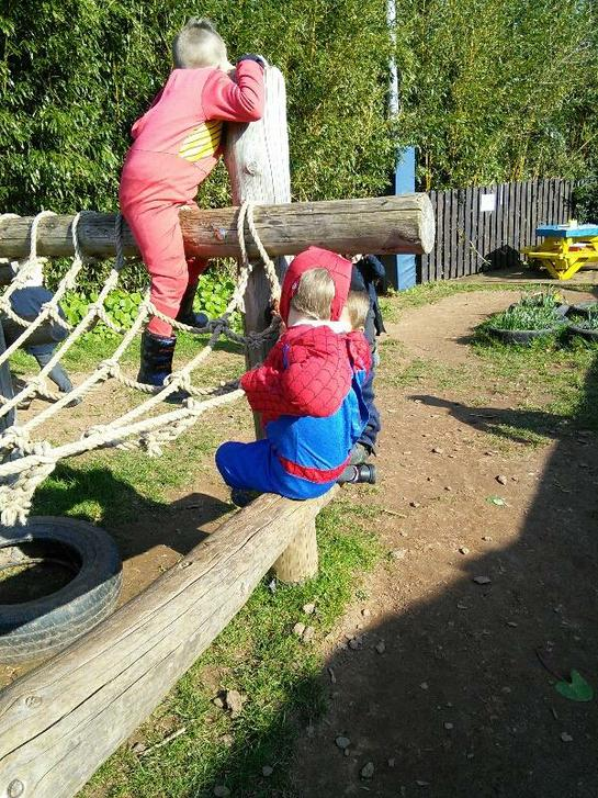 Superheroes climb so fast!