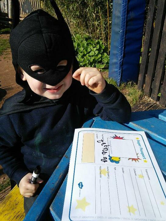 Making superhero notes.