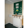 Our welcome board and area for paperwork