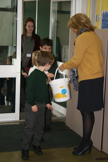 Mrs Washer also collecting our donations