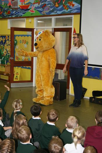 Pudsey Bear with Emma Stevens