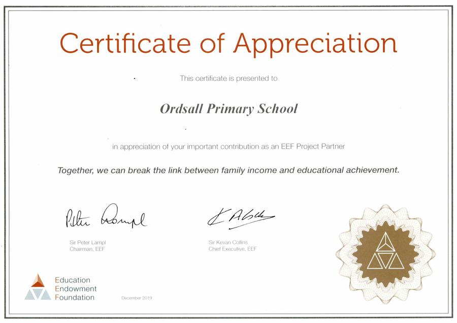 EEF Certificate of Appreciation