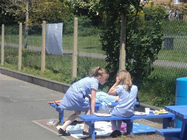 We enjoyed having a picnic in the playground!