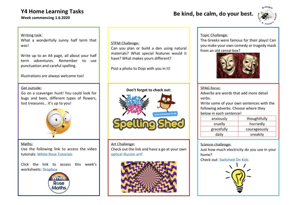Year 4 home learning 1.6.20