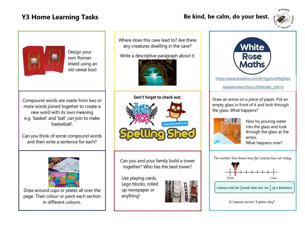 Year 3 home learning 1.6.20
