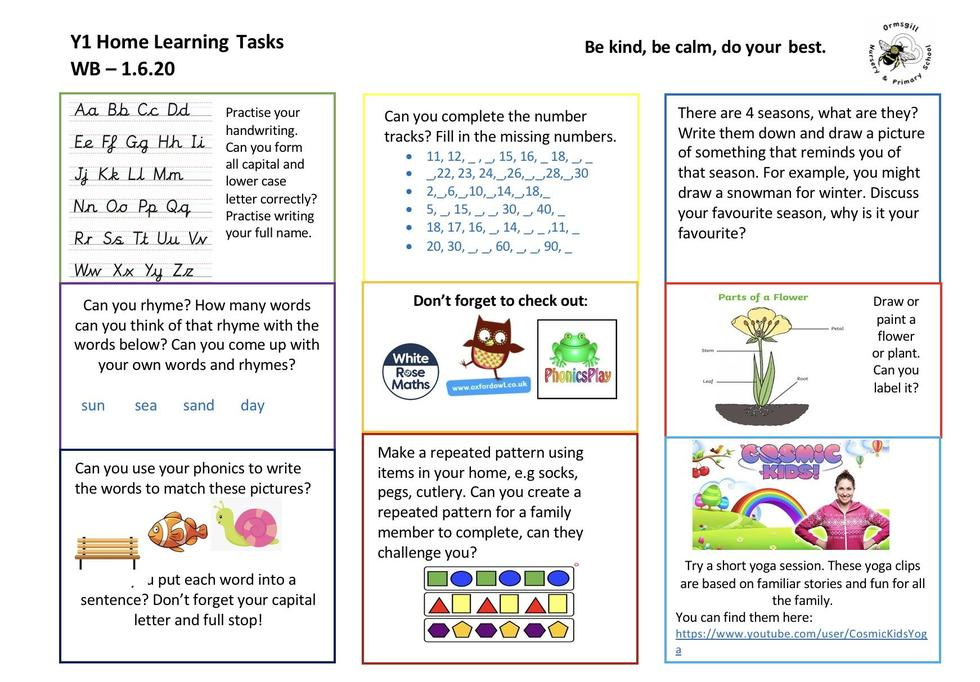 Year 1 home learning 1.76.20
