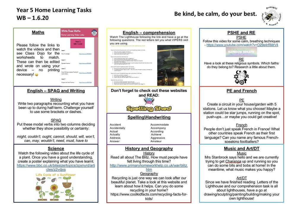 Year 5 home learning 1.6.20