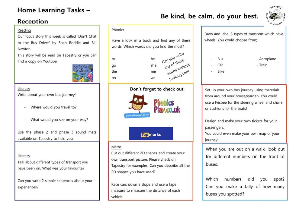 Reception home learning 1.6.20
