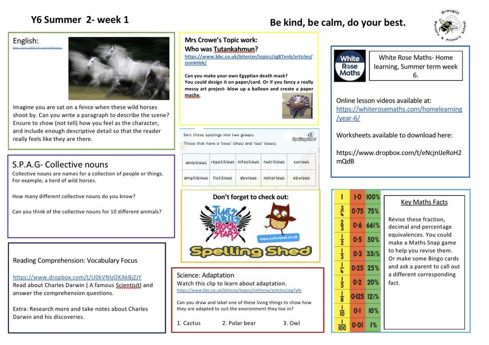 Year 6 home learning 1.6.20