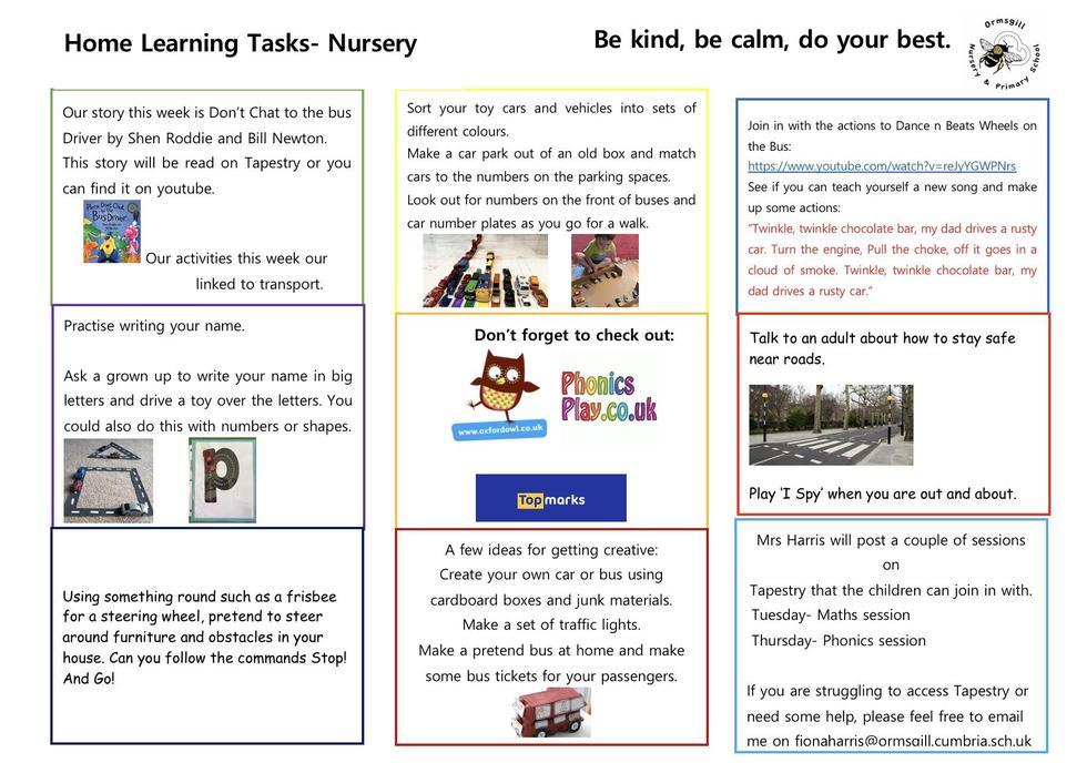 Nursery home learning 1.6.20