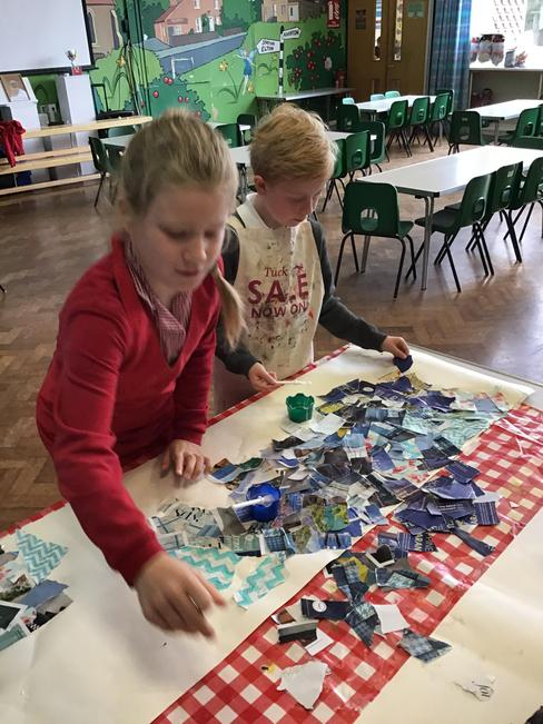 We used collage and printing for the underwater scene