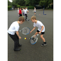 Y3 enjoying their tennis with Richard from GTC.