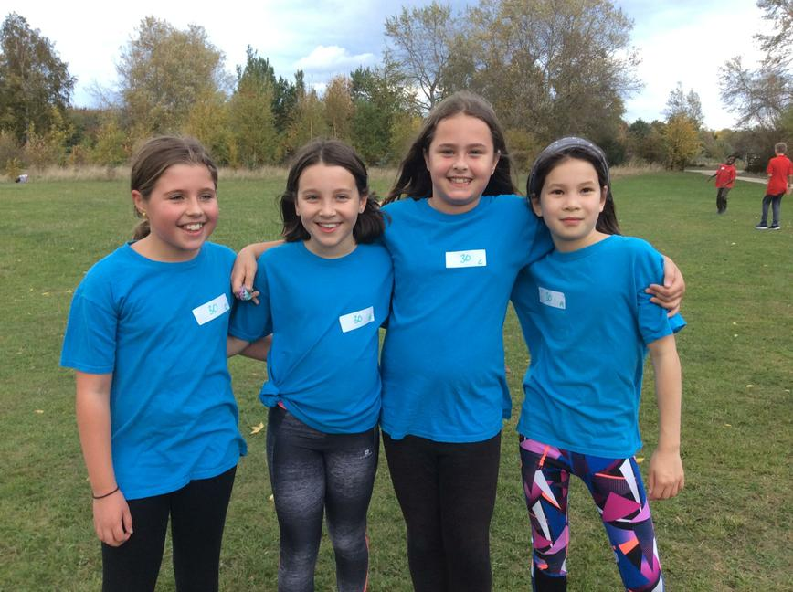 Our girls x country relay team at Rushcliffe Park
