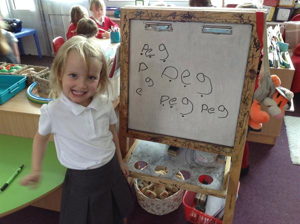 Independent writing in Class 1