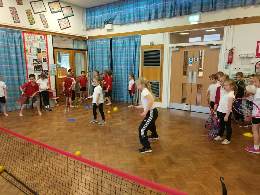 Foundation, Y1 & 2 had the chance to try tennis.