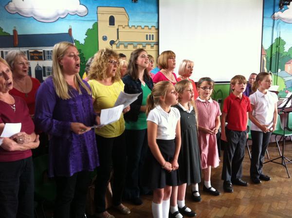 School choir and Orston's adult choir collaborate