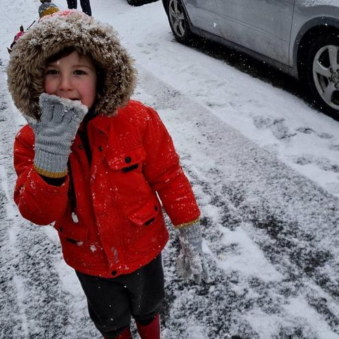 Fun in the snow...glad I have my gloves on!
