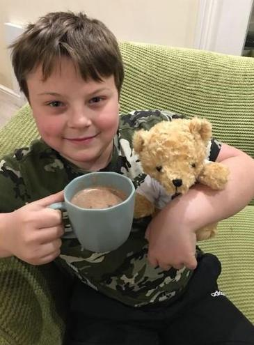 Teddy Tim is enjoying his fair trade hot choc- will he go to bed after the sugar hit?