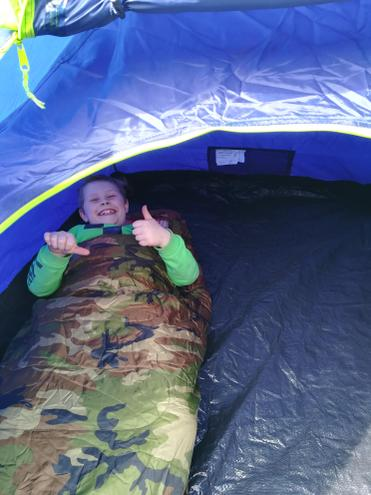 Camping in camouflage.