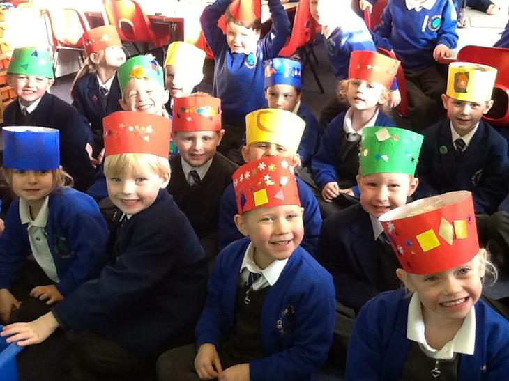 We made Christmas hats to wear at lunch.