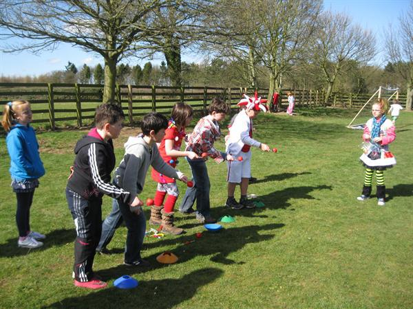 The red nose and spoon race for Comic Relief