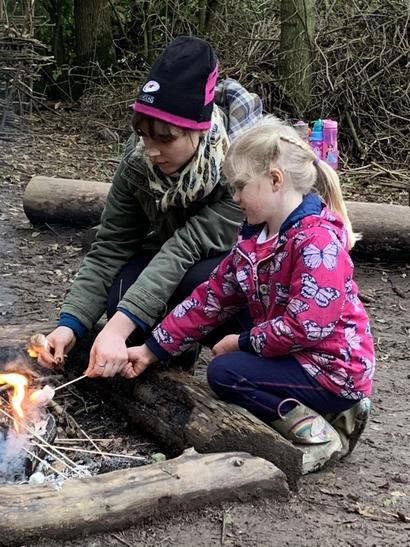 We toasted marshmallows and had hot chocolate.