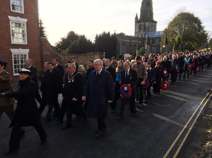 Pupils take part in the Remembrance Parade