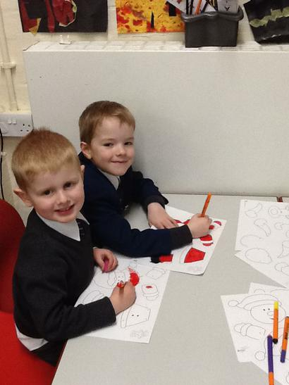 Working together to make decorations.