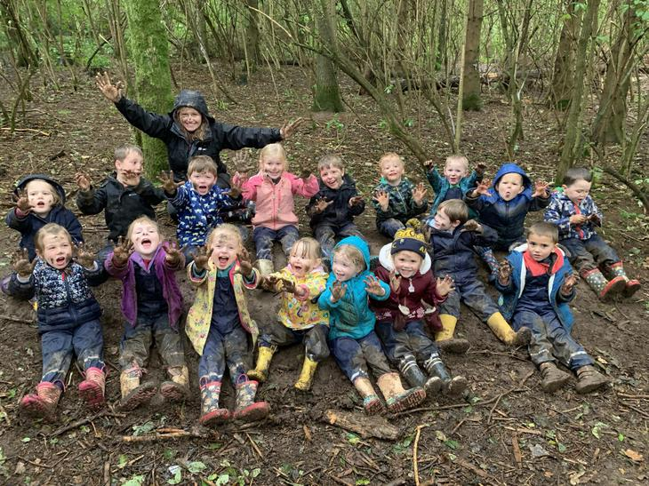 Reception children loved getting muddy!