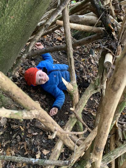 Camouflaging at forest school.