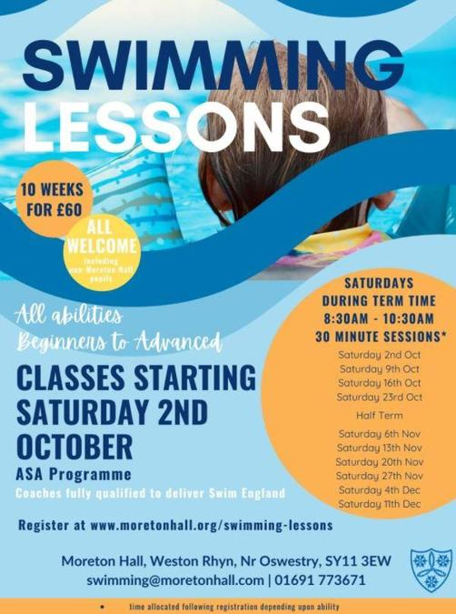 Saturday Swimming lessons start Saturday 2nd October.